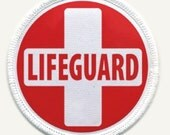LIFEGUARD RED WHITE Fire and Rescue Heroes Sew-on Patch (Choose Size and Rim Color)