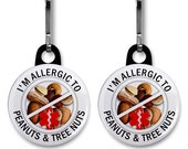 Allergic To PEANUTS & TREE NUTS Medical Alert Pair of Zipper Pull Charms (Choose Size and Backing Color)