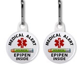 Green Epipen Jr Inside Medical Alert 2-Pack Zipper Pull Charms (Choose Size and Color of Backing)