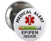 Green Epipen Jr. Inside Medical Alert Pinback Button Badge (Choose Size)