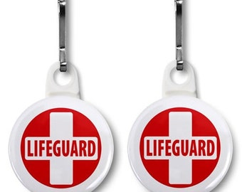 LIFEGUARD CROSS Red White Heroes 2-Pack of Zipper Pull Charms (Choose Size and Color of Backing)