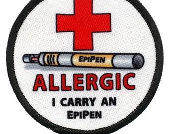 Allergic I Carry an EPIPEN Black Rim Medical Alert HOOK VELCRO Patch (Choose Size)