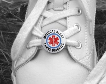 Medical Alert I Have Diabetes Medical Information Pair of 1 inch Shoe Charm Tags