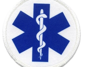 BLUE EMT SYMBOL Fire and Rescue Heroes Sew-on Patch (Choose Size and Rim Color)