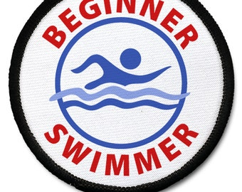 BEGINNER SWIMMER Pool Safety Alert Sew-on Patch (Choose Size and Rim Color)