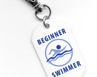 BEGINNER SWIMMER Pool Safety Alert 2.25 inch Aluminum Core Dog Tag 2-Sided (Choose Color)