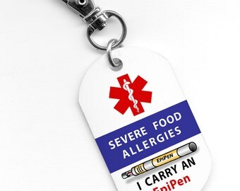 SEVERE FOOD ALLERGIES I Carry an EpiPen Medical Alert 1x2 inch Aluminum Dog Tag