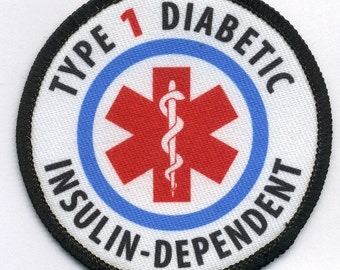 TYPE 1 DIABETIC Insulin Dependent Medical Alert Black Rim Hook VECLRO Patch (Choose Size)