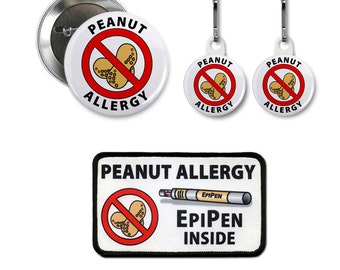 ALLERGIC NO PEANUTS Allergy Medical Alert Patch Button White Zipper Pulls
