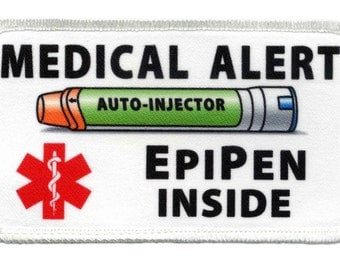 EpiPen Jr Auto - Injector Inside Medical Alert 2.5 x 4.5 inch Rectangle Sew-on Patch (Choose Rim Color)