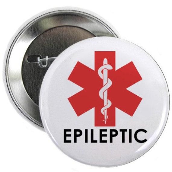 Epileptic Red Medical Alert Symbol Pinback Button Badge (Choose Size)