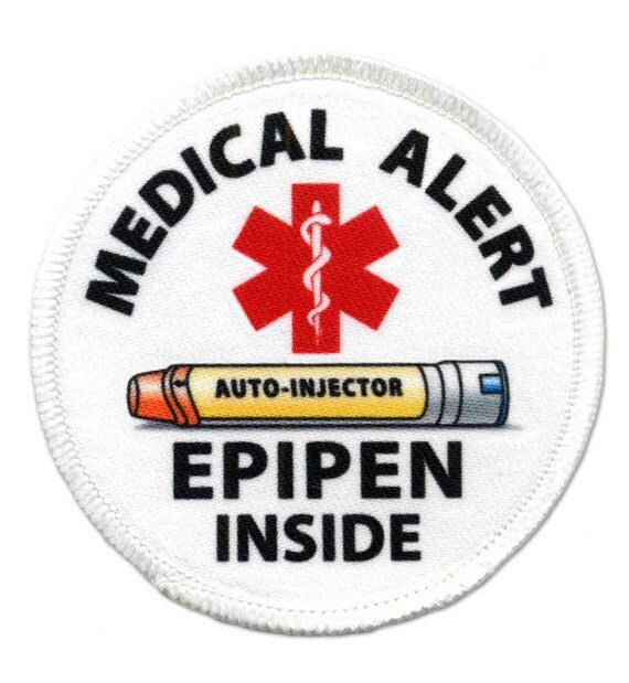 Medical Alert Yellow EpiPen  Auto - Injector Inside Sew-On Patch (Choose Size and Rim Color)