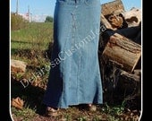 Custom to Your Size Long Jean Skirt size 0-2-4-6-8-10-12-14-16-18-20-22-24-26