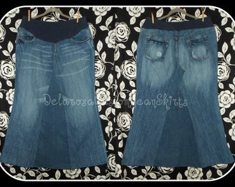 Custom to Your Size Maternity Jean Skirt knee length up to 26in length size S M L