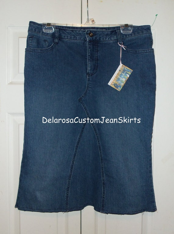 just below the knee jean skirt size 12 modest by