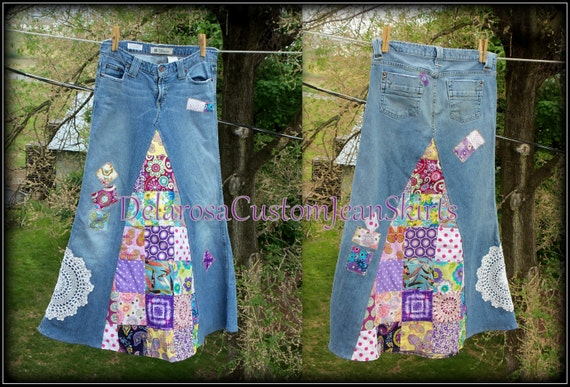 Classic Hippie patchwork Long Jean Skirt Custom Order to Your Size 0-2-4-6-8-10-13-14