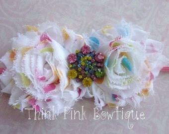 Baby Headbad, Polka dot Shabby Headband, Baby Girl Headband, Newborn Headband, Flower Headband, Baby Bows