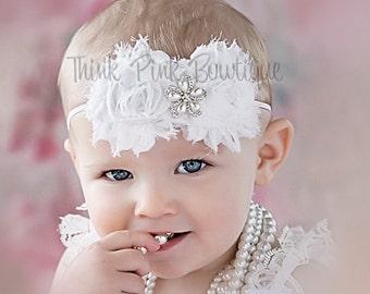 white headband, christening headband, baptism headband, baby headband,shabby chic headband,flower headband,baby girl headband, baby bows.