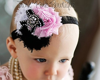 Baby Headband, baby headbands, Newborn headband,infant  headband,pink black  white baby headband,baby girl headband, baby Hair bows.