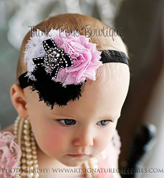 Baby Headband, baby headbands, Newborn headband,infant  headband,pink black  white baby headband,baby girl headband, baby Hair bows.