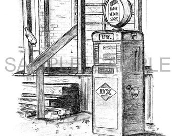 Taylor Grocery Gas Pump 8x10 Print