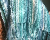 Ocean Waves Afghan, Throw, Hand knit, one of a kind