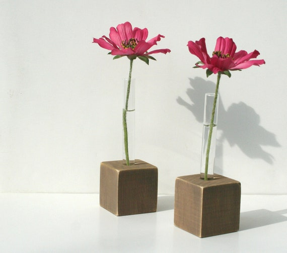Bud Vases, Test Tube Flower Vase, Set of 2, Rustic Brown Stained Wood