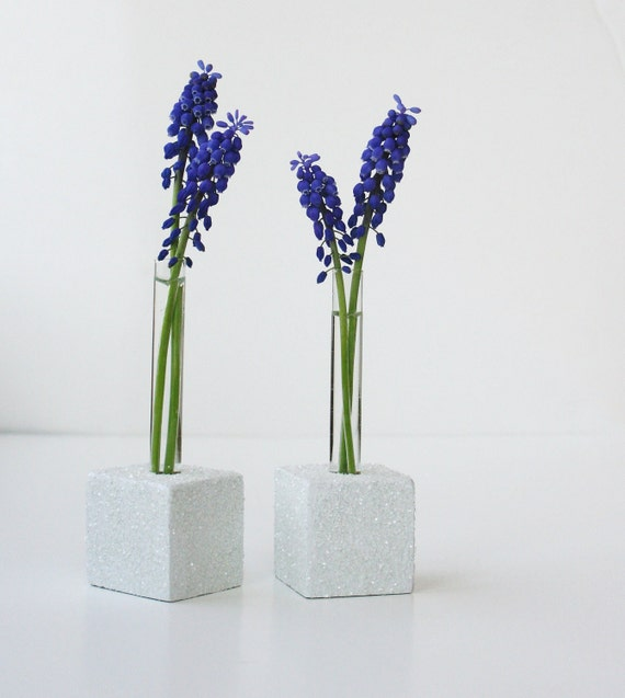 Bud Vases, Small Flower Test Tube VASE, Set of Two, white and glittery. Great for weddings, or table scapes