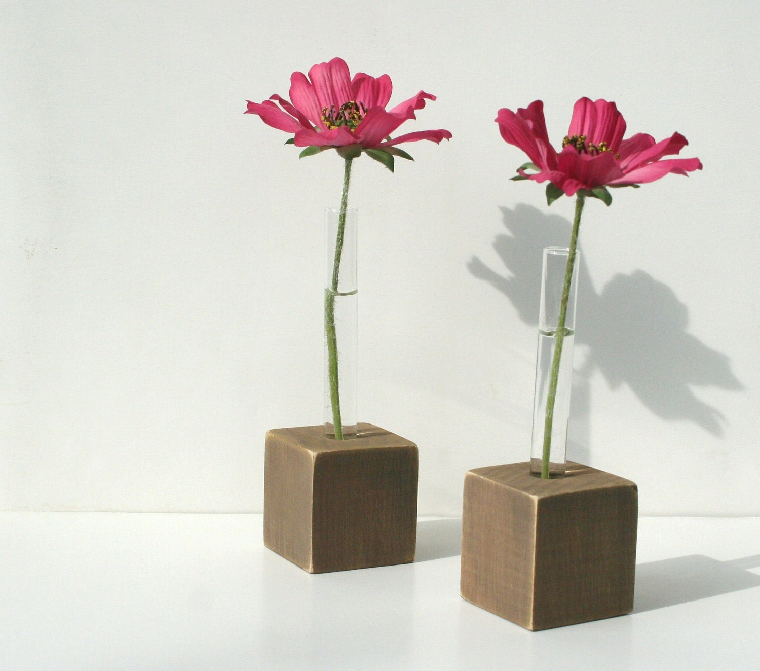 Bud Vases Test Tube Flower Vase Set Of 2 Rustic Brown