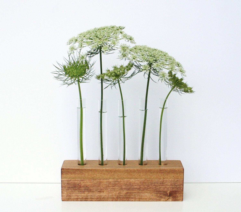 Bud vases test tube flower vase 5 holes brown stained wood for Test tube vase