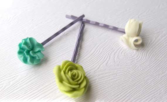 Grande and Mediano Trio Bobbies-Flowers Chartreuse,White, Turquoise
