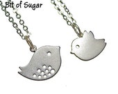 RESERVED for Amy - Best Friend Necklace BFF Necklace Set - Twitter Bird Charm Pendants