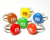 M&M Candy Ring - cute kawaii fake miniature food jewelry - adjustable chocolate ring