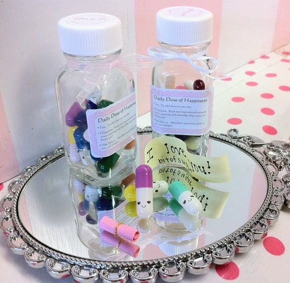 Happy Pills - THE ORIGINAL kawaii smiling pills - Cute miniature medicine with happy face - message in a bottle