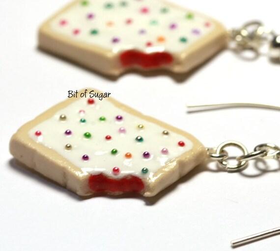 Strawberry Pop Tart Dangly Earrings - miniature poptart pop-tart breakfast pastry kawaii miniature food jewelry