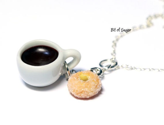 Coffee and Sugar Donut Charm Pendant Necklace - Miniature Food Jewelry