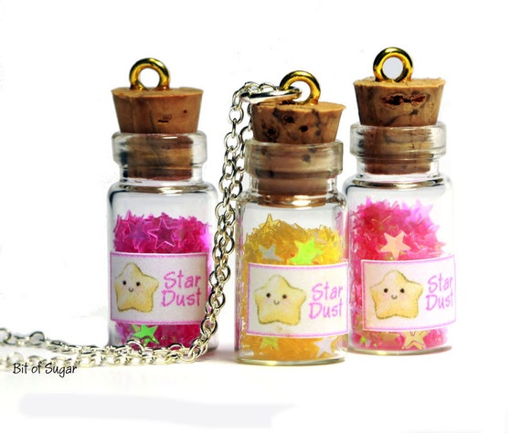 Stardust Miniature Glass Bottle Necklace - cute kawaii stars in vial pendant charm