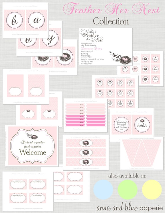 Feather Her Nest Baby Shower - Full Printable Party Collection - (pink, blue, green or yellow) - anna and blue paperie