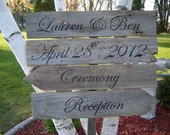 Wooden wedding directional signs Large 4-Four Layer Custom Made and Hand Painted for YOU
