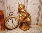 Vintage Musical Boy Statue - Shabby Chic Bust - Gold Statue
