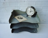 Vintage Metal Office Trays - Industrial Stackable Mid-century In and Out Paper Trays