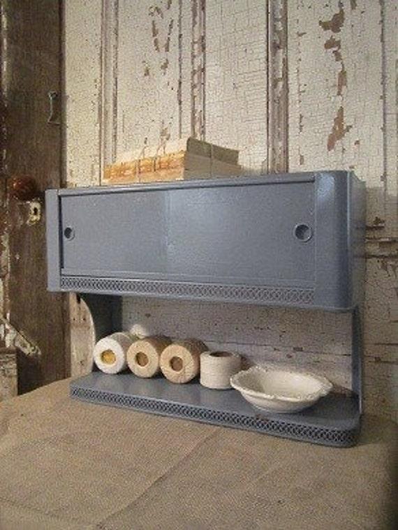 Vintage Metal Wall Cabinet Shelf Shabby Chic