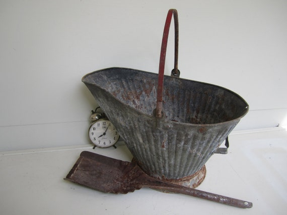 Vintage galvanized metal bucket with shovel ash by knickoftime for Old metal buckets