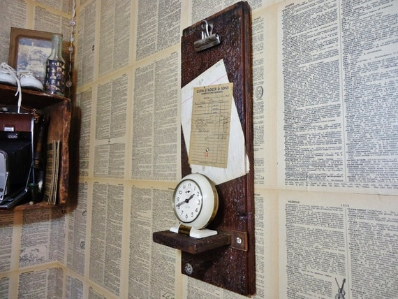 Antique Wooden Clipboard Shelf - Salvaged Wood from a Historic Courthouse with Antique ledger and receipt ephemera
