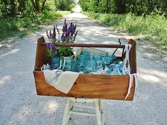 Rustic Wooden Tool Tote - Tool Trug - Extra Large - Wedding Centerpiece Display