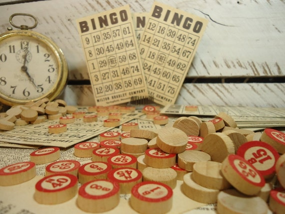 Antique BINGO Game with 20 Cards & 50 Wooden Number Chips