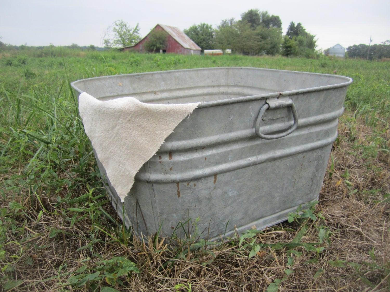 Reserved for kristin vintage large galvanized wash tubs for Large metal wash tub