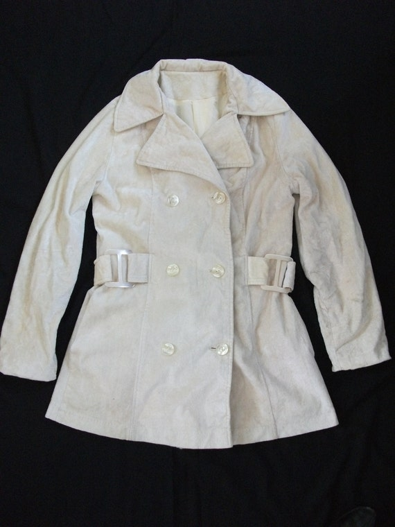 Vintage 60's cream velour double breasted mod jacket