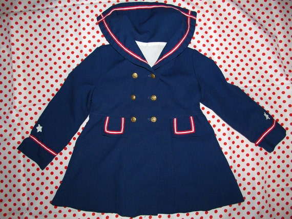 Adorable vintage 60's child girl white red navy blue sailor jacket with gold anchor buttons and stars