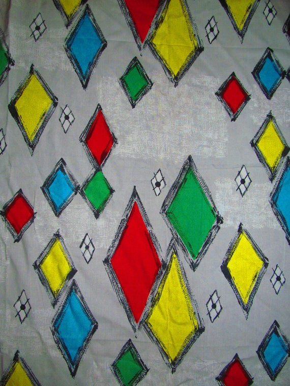 Large vintage 50's 60's red blue yellow green grey harlequin MCM fabric